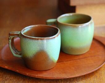 vintage Frankoma Plainsman prairie green mugs