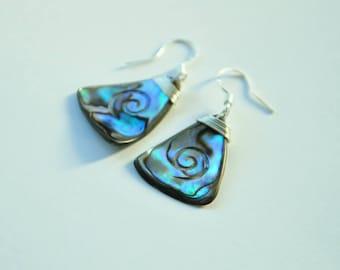 Moana earrings~New Zealand Paua Shell & sterling silver Mermaid earrings