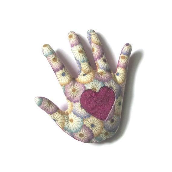 Heart in Hand Pin ~ Fabric Hamsa Brooch ~ Ready to Ship