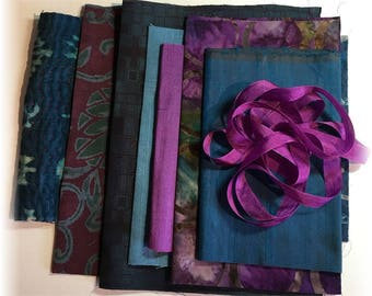 Boro Bundle INDIGO, BERRY and TEAL.  An Assortment of Hand Dyed, Vintage and New Fabrics for Boro Art, Embellishment and Mixed Media!
