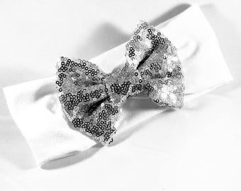 Sequin Headband - SilverHeadband - Silver Headwrap - Silver Sequin Headband