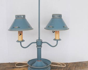 Vintage Tabletop Lamp Country Blue Double Shaded 2 Arm Light