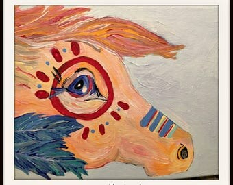 BEAUTIFUL Red and Blue Hand Painted War Horse Head Boho Canvas Wall Art Hanging Home Decor