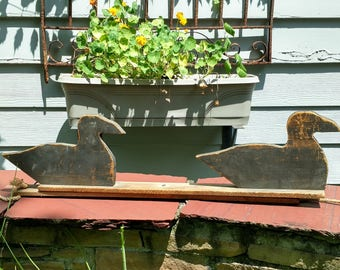 Vintage duck decoys wooden silloette y board sitting rustic primitive cabin cottage hunting collectible decor