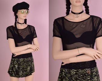90s Black Mesh Tee/ Medium/ 1990s/ Short Sleeve