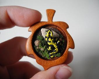 Fire Salamander wooden Pendant