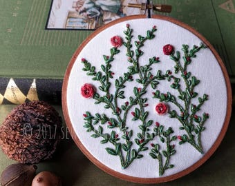 Hand Embroidered Rose Botanical Embroidery Hoop Art Wall Hanging