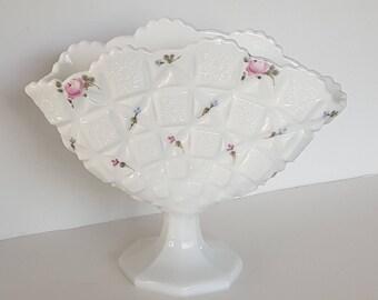 Vintage Westmoreland Milk Glass Vase Hand Painted Roses