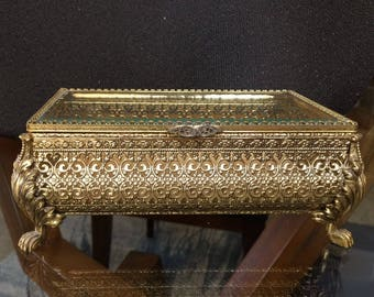 Ormolu trinket JEWELRY BOX large claw foot Hollywood Regency casket ornate rectangular with beveled glass gold plate Matson style