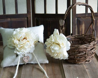 Rustic twig flower girl basket with cream flower and burlap ring bearer pillow personalized with bride and groom initials more flowers