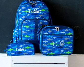 Boys backpack set, monogram lunch bag, monogrammed backpack, personalized backpack Set, boys backpack and lunch bag