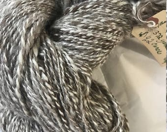 Yarn Hand Spun 50/50 Silk/Alpaca White/Lt. Brown 372 yards, 4.2 ozs. Sport Weight