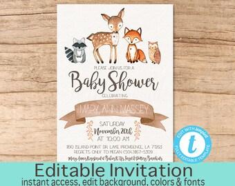 Baby Shower Invitation, Woodland Animals Invitation, Editable Fall Baby Shower invitation, Woodland Invitation, Templett Instant Download