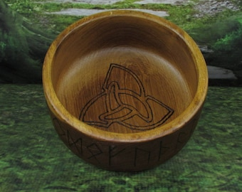 Norse Bowli, Blot Blessing Bowl, Triskelion, Blot Bowl, Asatru Ritual Bowl, Asatru Blessing Bowl, Viking Blessing Bowl, Viking Bowli