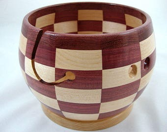 Special Design! Wooden Knitting and Yarn Bowl, Segmented, Checker Board Pattern,Hard Maple with Purpleheart Wood, Lathe Turned