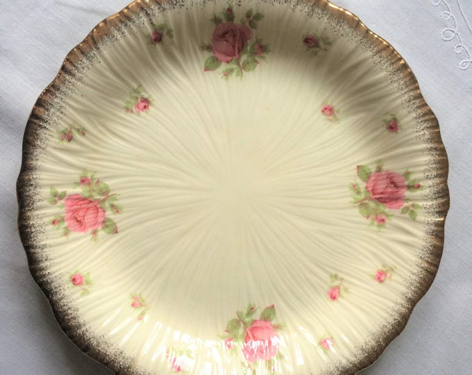 Crown Ducal cake or sandwich plate with pink roses and gilt, perfect for afternoon tea