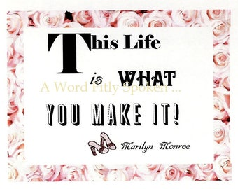 """CIJ Sale Marilyn Monroe Fridge Magnet """"This life is what you make it"""" Marilyn Monroe Quote, Hollywood Gift For Her MG-1201"""