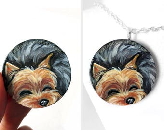 Yorkie Painting, Yorkshire Terrier, Dog Art Necklace, Hand Painted Wood Pendant, Baby Sleeping, Memorial Jewelry,  Cute Pet Gift for Her