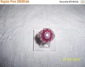 TWICE A YEAR, 25% Off Vintage Dark Red rubies ring. Sterling silver.