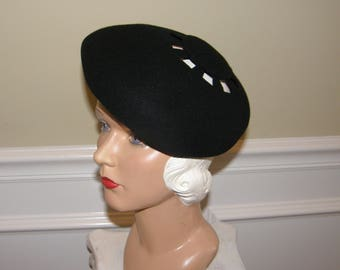 Vintage Hat Beret with Cutouts 70s does 40s Black Felt Puffy Hat Wear it Up or Down Betmar Simply Chic Mint Condition!