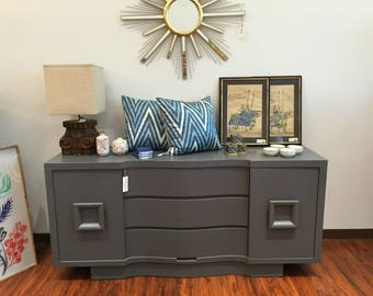 Long Stormy Grey Square Detail Dresser