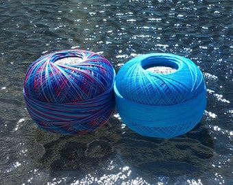 FULL SPOOLS - Lizbeth Tatting Thread - Island Breeze Coordinating TWO Pack (Colors 130 and 658) - Size 40 - Handy Hands - 600 Yards Total