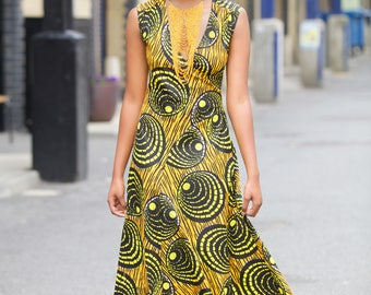 Serengetti ankara print maxi dress - Maria maxi dress in Yellow by GITAS Portal