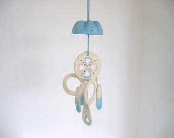 Wind chime, dome wind chime, ceramic wind chime, turquoise and pink chime