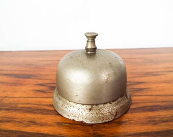 Vintage General Store Counter Metal Bell Hotel Porters Front Desk Service Bells, Gift for Shop Owner or Country Store Decoration