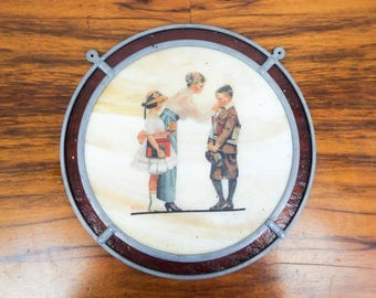 Vintage Norman Rockwell Mother Sending Children Off to School Stained Glass Wall Hanging Picture