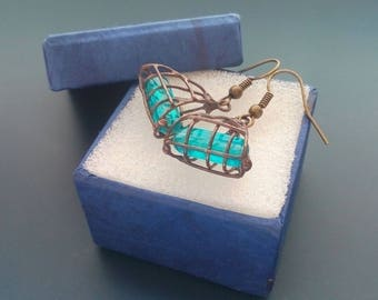 Copper wire earrings, contemporary jewelry,  funky jewelry, gift for women,  aqua blue stick beads, artistic earrings, Bead cage