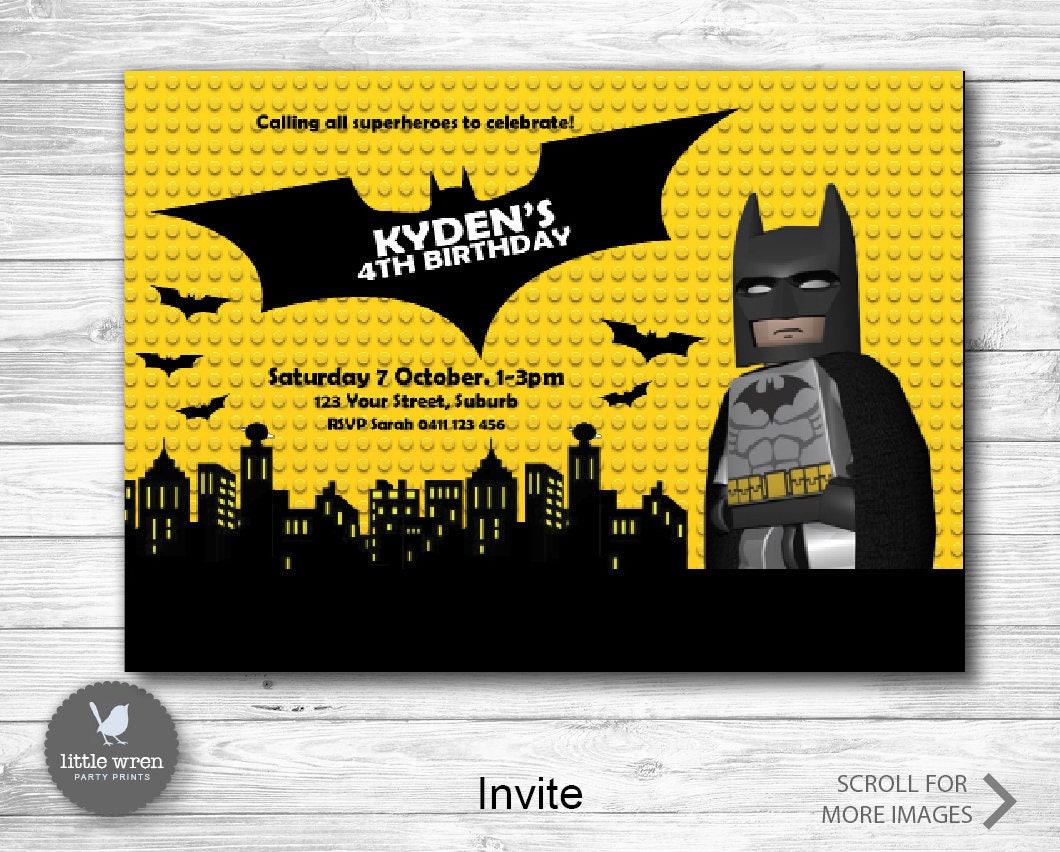 Lego Batman invite batman party printables superhero invitation