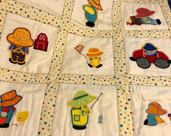 NEW Baby OVERALL SAM Appliqued quilt