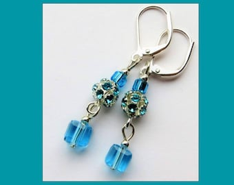 SKY BLUE CRYSTALS- Handcrafted Women's Beaded Earrings- Sparkling Crystals- Silver Plated Lever Back Ear Wires
