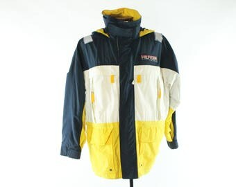 Vintage 90s Tommy Hilfiger Jacket Sailing Gear Coat Yellow Blue White Hooded 1990s Mens Size Large L Preppy