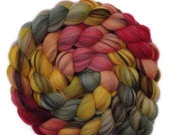 Handpainted roving - 21.5μ Merino wool spinning fiber - 4.2 ounces - Kind Concern 1