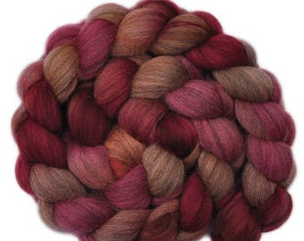 Hand dyed roving - Gray Merino wool combed top spinning fiber - 4.1 ounces - Sputtering Embers