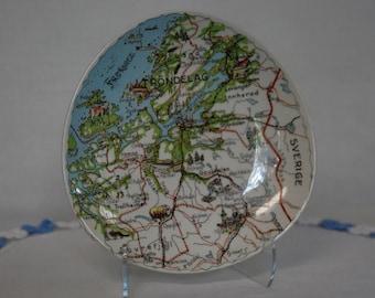 Figgjo Norway Silk Screen Map Plate Vintage