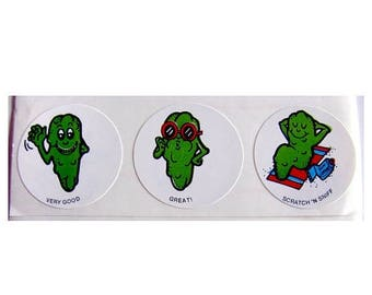 SALE Vintage CTP Scratch and Sniff Pickle Stickers 80's