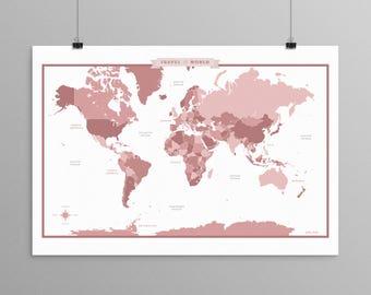 World Map - Rose Mauve - a Scandinavian modern design print // 13x19 // mid century modern map // kids room wall art // kids room decor