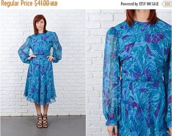 ON SALE Vintage 70s 80s Teal + Purple Abstract Floral Print Sheer Slv Slouchy Draped M 9596