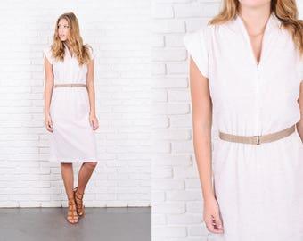 Vintage 80s White + Beige Retro Dress A Line Slouchy V neckline Small S 9921