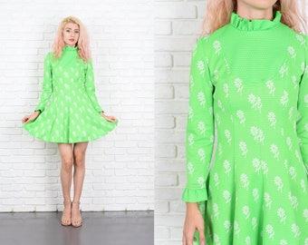 Vintage 70s Green Polka Dot Dress Floral Print A Line Mini XS 9985