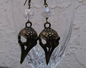 Bird skull metal earrings