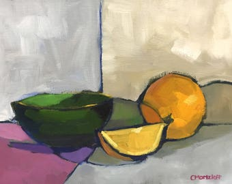 Still Life Painting Oil on Canvas The Green Bowl with Oranges