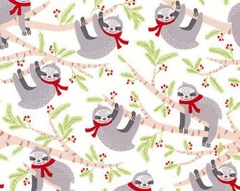 Sloth Animals on Snow White From Robert Kaufman's Frosty Friends Collection by Andie Hanna