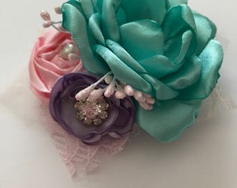 Aqua, Pink and Soft Purple Hair Clip - Ready to Ship!!
