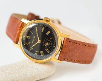 Classic men's watch Pobeda, black face dress watch him, gold plated men watch, mechanical watch, boyfriend watch, premium leather strap new