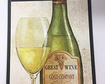 Great Wine Good Company is Cheaper then Therapy Wooden kitchen Wall Art Sign white wine bottle