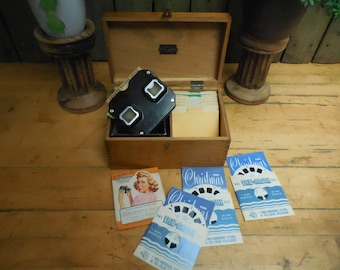 Vintage 1948 Sawyer's Viewmaster Steroscopic viewer with 37 reelsst